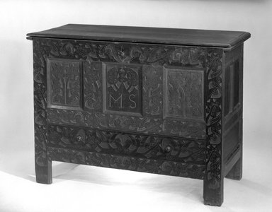 American. <em>Carved Chest</em>, ca.1705-1725. Oak, 23 1/4 x 46 3/4 x 19 3/8 in. (59.1 x 118.7 x 49.2 cm). Brooklyn Museum, Henry L. Batterman Fund, 14.707. Creative Commons-BY (Photo: Brooklyn Museum, 14.707_acetate_bw.jpg)