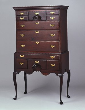 <em>Highboy (High Chest of Drawers)</em>, ca. 1760. Cherry, mahogany, overall: 71 3/4 x 39 1/4 x 21 3/8 in. (182.2 x 99.7 x 54.3 cm). Brooklyn Museum, Henry L. Batterman Fund, 14.713a-b. Creative Commons-BY (Photo: Brooklyn Museum, 14.713_SL1.jpg)
