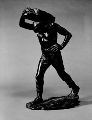 Constantin Meunier (Belgian, 1831-1905). <em>Dock Laborer</em>. Bronze, 22 7/16 x 12 13/16 x 7 1/2 in. (57 x 32.5 x 19.1 cm). Brooklyn Museum, Gift of A. Augustus Healy, 14.717. Creative Commons-BY (Photo: Brooklyn Museum, 14.717_bw.jpg)