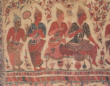 <em>Hanging, 1 of 7 Pieces</em>, 1610-1640. Cotton, drawn and painted resist and mordants, dyed, 40 x 109 in. (101.6 x 276.9 cm). Brooklyn Museum, Museum Expedition 1913-1914, Museum Collection Fund, 14.719.3. Creative Commons-BY (Photo: Brooklyn Museum, 14.719.3_detail_transp4636.jpg)