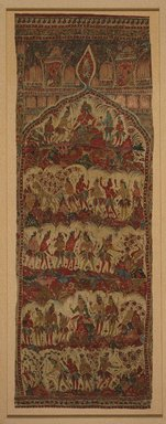 <em>Hanging, 1 of 7 Pieces</em>, 1610-1640. Cotton, drawn and painted resist and mordants, dyed, 40 x 109 in. (101.6 x 276.9 cm). Brooklyn Museum, Museum Expedition 1913-1914, Museum Collection Fund, 14.719.6. Creative Commons-BY (Photo: Brooklyn Museum, 14.719.6_SL1.jpg)