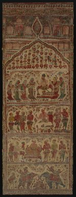 <em>Hanging, 1 of 7 Pieces</em>, 1610-1640. Cotton, drawn and painted resist and mordants, dyed, Other: 109 1/4 x 38 1/4 in. (277.5 x 97.2 cm). Brooklyn Museum, Museum Expedition 1913-1914, Museum Collection Fund, 14.719.7. Creative Commons-BY (Photo: Brooklyn Museum, 14.719.7_SL1.jpg)