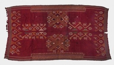 <em>Cover, red with embroidery, fringed</em>. Cotton?, 46 x 87 in. (116.8 x 221 cm). Brooklyn Museum, Museum Expedition 1913-1914, 14.733. Creative Commons-BY (Photo: Brooklyn Museum, 14.733_PS11.jpg)