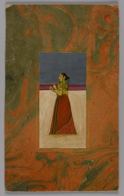 <em>Indian Picture, Fragment</em>, ca. 1800. Opaque watercolors and gold on paper, Image: 4 7/16 x 2 3/16 in. (11.2 x 5.5 cm). Brooklyn Museum, 14.738.2 (Photo: Brooklyn Museum, 14.738.2_IMLS_PS4.jpg)