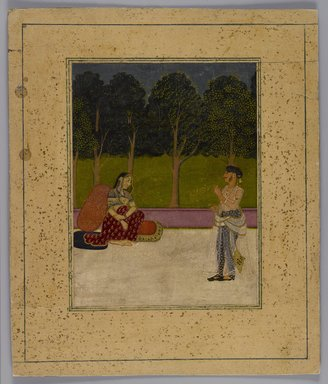 <em>Indian Picture, Fragment</em>, ca. 1800. Opaque watercolors on paper, Overall: 9 1/4 x 7 3/4 in. (23.5 x 19.7 cm). Brooklyn Museum, 14.738.3 (Photo: Brooklyn Museum, 14.738.3_IMLS_PS4.jpg)
