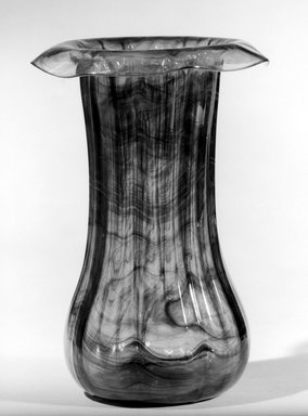 Attributed to Tiffany Studios (1902-1932). <em>Vase</em>, ca. 1900. Opalescent glass, 8 3/8 x 5 7/8 x 5 7/8 in. (21.3 x 14.9 x 14.9 cm). Brooklyn Museum, Gift of Charles W. Gould, 14.739.10. Creative Commons-BY (Photo: Brooklyn Museum, 14.739.10_acetate_bw.jpg)