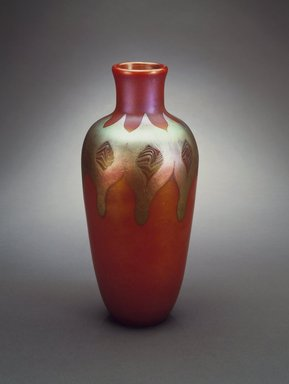 Tiffany & Company (American, founded 1853). <em>Flower Vase</em>, 1900-1910. Favrile glass, 11 x 5 x 5 in. (27.9 x 12.7 x 12.7 cm). Brooklyn Museum, Gift of Charles W. Gould, 14.739.16. Creative Commons-BY (Photo: Brooklyn Museum, 14.739.16.jpg)