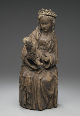 Spanish. <em>Seated Figure of the Virgin Holding the Christ Child</em>, 15th century. Wood, Height: 16 1/8 in. (41 cm). Brooklyn Museum, Museum Collection Fund, 15.274. Creative Commons-BY (Photo: Brooklyn Museum, 15.274_front_PS2.jpg)
