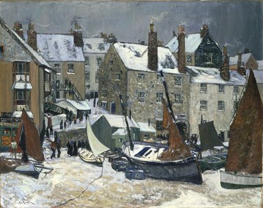Hayley Lever (American, 1876-1958). <em>Winter, St. Ives</em>, ca. 1914. Oil on canvas, 40 1/16 x 50 in. (101.8 x 127 cm). Brooklyn Museum, Caroline H. Polhemus Fund, 15.279 (Photo: Brooklyn Museum, 15.279_reference_SL1.jpg)