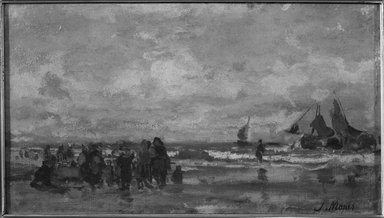 Jacob Hendricus Maris (Dutch, 1837-1899). <em>Fisherwomen on Beach, Scheveningen</em>, ca. 1872. Oil on canvas, 8 1/8 x 14 1/8 in. (20.6 x 35.9 cm). Brooklyn Museum, Bequest of Robert B. Woodward, 15.280 (Photo: Brooklyn Museum, 15.280_framed_bw.jpg)