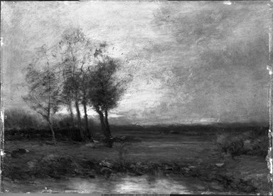 John Francis Murphy (American, 1853-1921). <em>Landscape</em>, 1895. Oil on pressed fiberboard, 9 13/16 x 13 13/16 in. (24.9 x 35.1 cm). Brooklyn Museum, Bequest of Charles A. Schieren, 15.287 (Photo: Brooklyn Museum, 15.287_acetate_bw.jpg)