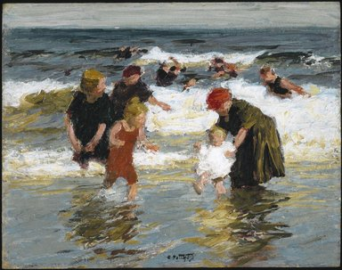 Edward Henry Potthast (American, 1857-1927). <em>Bathers</em>, ca. 1913. Oil on panel, 12 5/8 x 16 in. (32 x 40.7 cm). Brooklyn Museum, John B. Woodward Memorial Fund, 15.290 (Photo: Brooklyn Museum, 15.290_colorcorrected_SL1.jpg)