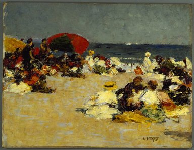 Edward Henry Potthast (American, 1857-1927). <em>On the Beach</em>, ca. 1913. Oil on canvas, 12 7/16 x 16 in. (31.6 x 40.7 cm). Brooklyn Museum, John B. Woodward Memorial Fund, 15.291 (Photo: Brooklyn Museum, 15.291_SL3.jpg)