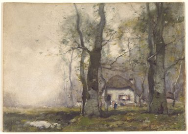 Henry Ward Ranger (American, 1858-1916). <em>Lodge in the Woods</em>, 1891. Watercolor on paper, 10 7/8 x 15 7/16 in. (27.6 x 29.2 cm). Brooklyn Museum, Bequest of Charles A. Schieren, 15.292 (Photo: Brooklyn Museum, 15.292_SL3.jpg)