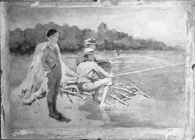 Theodore Robinson (American, 1852-1896). <em>Children Fishing</em>, 1881. Watercolor, 10 x 14 in. (25.4 x 35.6 cm). Brooklyn Museum, Caroline H. Polhemus Fund, 15.293 (Photo: Brooklyn Museum, 15.293_glass_bw.jpg)