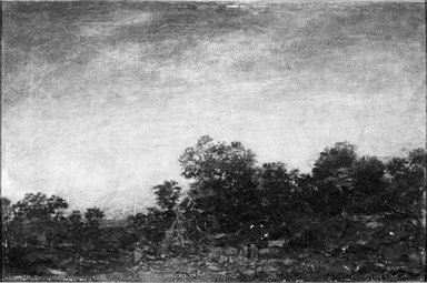 Ralph Albert Blakelock (American, 1847-1919). <em>Landscape with Indians</em>, ca. 1880-1895. Oil on canvas, 15 15/16 x 24 in. (40.5 x 60.9 cm). Brooklyn Museum, Bequest of Charles A. Schieren, 15.307 (Photo: Brooklyn Museum, 15.307_acetate_bw.jpg)