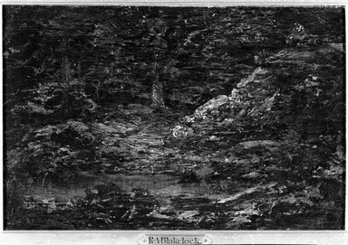 Ralph Albert Blakelock (American, 1847-1919). <em>The Edge of the Woods</em>, n.d. Oil on canvas, 11 7/8 x 7 7/8 in. (30.1 x 20 cm). Brooklyn Museum, Bequest of Charles A. Schieren, 15.308 (Photo: Brooklyn Museum, 15.308_acetate_bw.jpg)