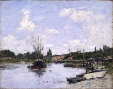 Eugène Louis Boudin (French, 1824-1898). <em>The Port, Saint-Valéry-sur-Somme (Saint-Valéry-sur-Somme, Le Port)</em>, 1892. Oil on panel, 12 13/16 x 16 1/16 in. (32.5 x 40.8 cm). Brooklyn Museum, Bequest of Robert B. Woodward, 15.313 (Photo: Brooklyn Museum, 15.313_SL1.jpg)