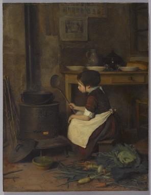 Pierre-Édouard  Frère (French, 1819-1886). <em>The Little Cook (La Petite cuisinière)</em>, 1858. Oil on panel, 12 1/8 x 9 1/4in. (30.8 x 23.5cm). Brooklyn Museum, Bequest of Robert B. Woodward, 15.328 (Photo: Brooklyn Museum, 15.328_PS9.jpg)