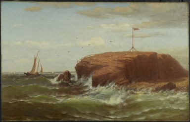 Robert Swain Gifford (American, 1840-1905). <em>Seconnet Rock, New Bedford, Massachusetts</em>, ca. 1865. Oil on canvas, 14 3/16 x 22 3/16 in. (36 x 56.3 cm). Brooklyn Museum, Bequest of Charles A. Schieren, 15.329 (Photo: Brooklyn Museum, 15.329_PS1.jpg)