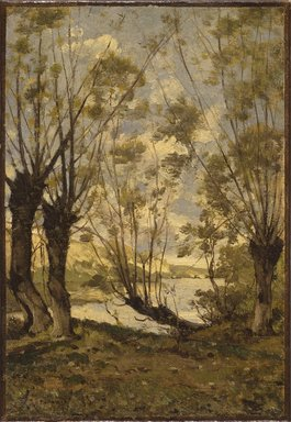 Henri-Joseph Harpignies (French, 1819-1916). <em>Willows on the Banks of the Loire</em>, 1893. Oil on canvas, 13 1/2 x 9 1/2 in. (34.3 x 24.1 cm). Brooklyn Museum, Bequest of Robert B. Woodward, 15.332 (Photo: Brooklyn Museum, 15.332_SL1.jpg)