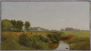 William Hart (American, born Scotland, 1823-1894). <em>Near Hurley, Ulster County, New York</em>, ca. 1864. Oil on canvas, 7 1/2 x 13 7/8 in. (19 x 35.2 cm). Brooklyn Museum, Bequest of Robert B. Woodward, 15.333 (Photo: , 15.333_PS9.jpg)