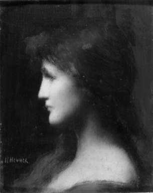 Jean Jacques Henner (French, 1829-1905). <em>Head</em>, n.d. Oil on panel, 10 5/8 x 8 5/16 in. (27 x 21.1 cm). Brooklyn Museum, Bequest of Charles A. Schieren, 15.335 (Photo: Brooklyn Museum, 15.335_acetate_bw.jpg)