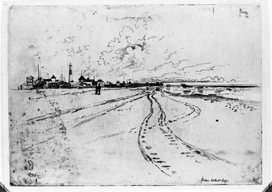 Joseph Pennell (American, 1860-1926). <em>Below Atlantic City</em>, 1881. Etching, plate: 9 13/16 x 13 3/4 in. (25 x 35 cm). Brooklyn Museum, Brooklyn Museum Collection, 15.337 (Photo: Brooklyn Museum, 15.337_acetate_bw.jpg)