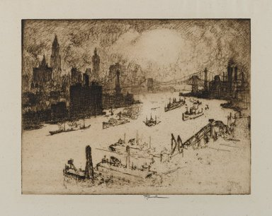 Joseph Pennell (American, 1860-1926). <em>Sunset From Williamsburg Bridge</em>, 1915. Etching, Sheet: 11 5/8 x 17 in. (29.5 x 43.2 cm). Brooklyn Museum, Brooklyn Museum Collection, 15.340 (Photo: Brooklyn Museum, 15.340_PS1.jpg)