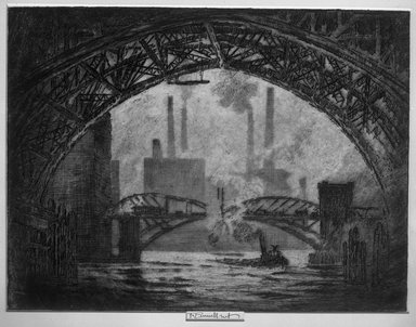 Joseph Pennell (American, 1860-1926). <em>Under the Bridges, Chicago</em>, 1910. Etching, plate: 9 5/16 x 12 1/4 in. (23.6 x 31.1 cm). Brooklyn Museum, Brooklyn Museum Collection, 15.345 (Photo: Brooklyn Museum, 15.345_glass_bw.jpg)