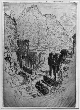 Joseph Pennell (American, 1860-1926). <em>Taormina From the Theatre</em>, 1913. Etching, plate: 10 1/4 x 14 15/16 in. (26.1 x 37.9 cm). Brooklyn Museum, Brooklyn Museum Collection, 15.349 (Photo: Brooklyn Museum, 15.349_glass_bw.jpg)