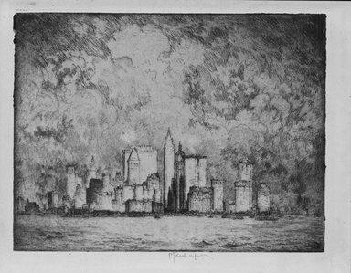 Joseph Pennell (American, 1860-1926). <em>The City in 1915</em>, 1915. Etching, plate: 8 1/2 x 6 15/16 in. (21.6 x 17.6 cm). Brooklyn Museum, Brooklyn Museum Collection, 15.351 (Photo: Brooklyn Museum, 15.351_bw_SL5.jpg)