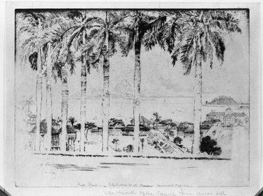 Joseph Pennell (American, 1860-1926). <em>Bishop's Walk, Ancon Hill, Panama</em>, 1912. Etching, Image: 9 1/2 x 12 3/8 in. (24.1 x 31.4 cm). Brooklyn Museum, Brooklyn Museum Collection, 15.353 (Photo: Brooklyn Museum, 15.353_acetate_bw.jpg)