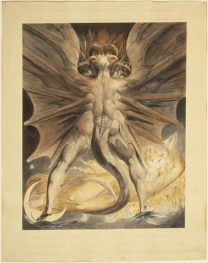 William Blake (British, 1757-1827). <em>The Great Red Dragon and the Woman Clothed with the Sun (Rev. 12: 1-4)</em>, ca. 1803-1805. Black ink and watercolor over traces of graphite and incised lines on wove paper, Image: 17 3/16 x 13 11/16 in. (43.7 x 34.8 cm). Brooklyn Museum, Gift of William Augustus White, 15.368 (Photo: Brooklyn Museum, 15.368_SL1.jpg)