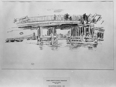 James Abbott McNeill Whistler (American, 1834-1903). <em>Old Battersea Bridge</em>, 1879, 1887. Lithograph, irregular: 11 3/16 x 17 15/16 in. (28.4 x 45.6 cm). Brooklyn Museum, Gift of the Rembrandt Club, 15.377 (Photo: Brooklyn Museum, 15.377_acetate_bw.jpg)