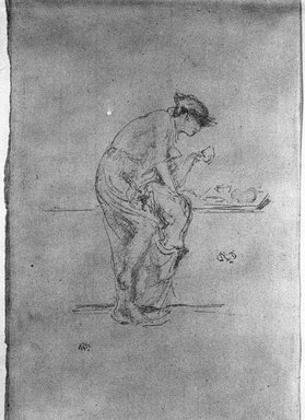 James Abbott McNeill Whistler (American, 1834-1903). <em>The Horoscope</em>, 1890. Lithograph on paper, Sheet: 12 7/8 x 8 in. (32.7 x 20.3 cm). Brooklyn Museum, Gift of the Rembrandt Club, 15.383 (Photo: Brooklyn Museum, 15.383_bw_SL1.jpg)