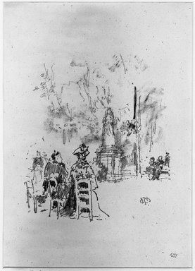 James Abbott McNeill Whistler (American, 1834-1903). <em>Conversation Under the Statue, Luxembourg Gardens</em>, 1893. Lithograph, Sheet: 13 3/16 x 7 7/8 in. (33.5 x 20 cm) (irregular). Brooklyn Museum, Gift of the Rembrandt Club, 15.389 (Photo: Brooklyn Museum, 15.389_acetate_bw.jpg)