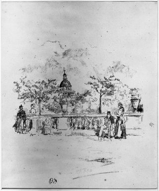 James Abbott McNeill Whistler (American, 1834-1903). <em>The Pantheon, From the Terrace of the Luxembourg Gardens</em>, 1893. Lithograph, 12 5/8 x 7 11/16 in. (32.1 x 19.5 cm). Brooklyn Museum, Gift of the Rembrandt Club, 15.390 (Photo: Brooklyn Museum, 15.390_acetate_bw.jpg)