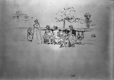 James Abbott McNeill Whistler (American, 1834-1903). <em>The Terrace, Luxembourg</em>, 1894. Lithograph, 7 15/16 x 13 5/16 in. (20.2 x 33.8 cm). Brooklyn Museum, Gift of the Rembrandt Club, 15.396 (Photo: Brooklyn Museum, 15.396_acetate_bw.jpg)