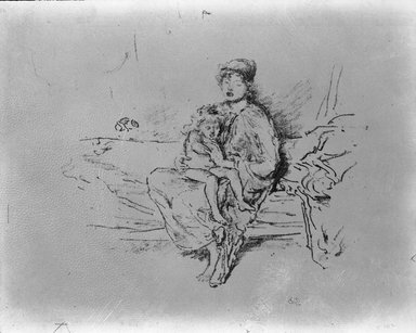 James Abbott McNeill Whistler (American, 1834-1903). <em>Mother and Child, No. 2</em>, 1890. Lithograph, 8 15/16 x 11 1/8 in. (22.7 x 28.3 cm). Brooklyn Museum, Gift of the Rembrandt Club, 15.415 (Photo: Brooklyn Museum, 15.415.at_acetate_bw.jpg)