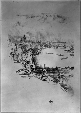James Abbott McNeill Whistler (American, 1834-1903). <em>Little London</em>, 1896. Lithograph, 11 15/16 x 7 in. (30.3 x 17.8 cm). Brooklyn Museum, Gift of the Rembrandt Club, 15.418 (Photo: Brooklyn Museum, 15.418_acetate_bw.jpg)