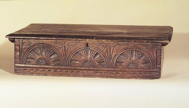 American. <em>Desk Box</em>, 1686. Pine, 8 1/4 x 19 1/8 x 32 1/2 in. (21 x 48.5 x 82.5 cm). Brooklyn Museum, Henry L. Batterman Fund, 15.424. Creative Commons-BY (Photo: Brooklyn Museum, 15.424.jpg)