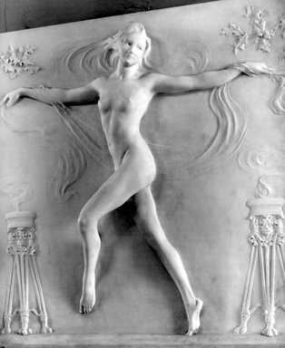 Bela Lyon Pratt (American, 1867-1917). <em>Nude Figure of a Girl Dancing</em>, 1910. Marble, 31 1/8 x 29 1/2 x 4 1/2 in. (79.1 x 74.9 x 11.4 cm). Brooklyn Museum, Gift of George D. Pratt, 15.482. Creative Commons-BY (Photo: Brooklyn Museum, 15.482_bw.jpg)