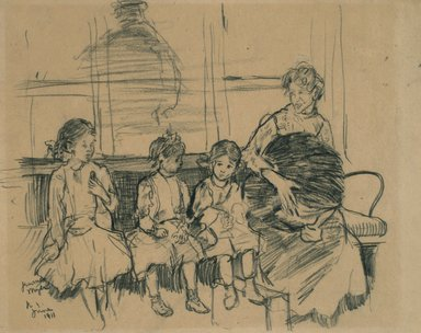 Jerome Myers (American, 1867-1940). <em>Woman with Three Children</em>, June 1911. Grease crayon on paper, Sheet: 9 1/8 x 11 1/2 in. (23.2 x 29.2 cm). Brooklyn Museum, Gift of Luke Vincent Lockwood, 15.485. © artist or artist's estate (Photo: Brooklyn Museum, 15.485.jpg)