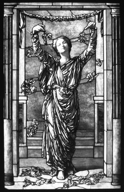 "John La Farge (American, 1835-1910). <em>Stained Glass Window ""Hospitalitas,""</em> 1906-1907. Glass, 82 1/2 x 52 in. (209.6 x 132.1 cm). Brooklyn Museum, Gift of Herbert L. Pratt, 15.493. Creative Commons-BY (Photo: Brooklyn Museum, 15.493_bw.jpg)"