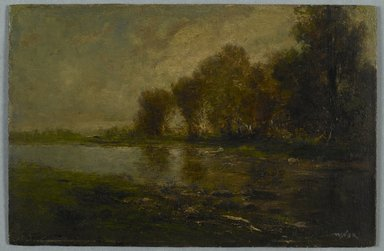 Robert Crannell Minor (American, 1839-1904). <em>On the Upper Thames, Connecticut</em>, n.d. Oil on board, 6 1/4 x 9 1/2 in. (15.8 x 24.1 cm). Brooklyn Museum, Bequest of Charles A. Schieren, 15.505 (Photo: Brooklyn Museum, 15.505_PS2.jpg)