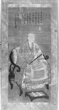 <em>Buddhist Monk Seated and Holding Staff</em>, 1710. Ink and color on silk mounted as hanging scroll, now framed under plexi and in a wooden frame, Image: 41 3/4 x 18 7/8 in. (106 x 47.9 cm). Brooklyn Museum, Bequest of Samuel Isham, 15.506 (Photo: Brooklyn Museum, 15.506_bw.jpg)