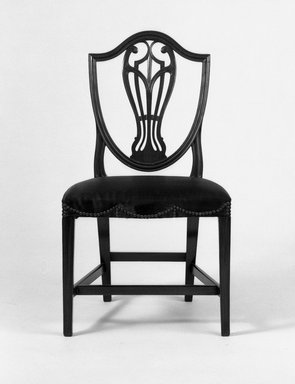 <em>6 Hepplewhite Side Chairs</em>, 19th century., 36 x 21 3/4 x 16 1/2 in. (91.4 x 55.2 x 41.9 cm). Brooklyn Museum, Gift of George D. Pratt, 15.51.1-.6. Creative Commons-BY (Photo: Brooklyn Museum, 15.51.4_bw.jpg)