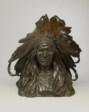 Adolph Alexander Weinman (American, born Germany, 1870-1952). <em>Chief Blackbird, Ogalalla Sioux</em>, modeled 1903, cast 1907. Bronze, 16 3/8 x 12 1/2 x 11 1/2 in. (41.6 x 31.8 x 29.2 cm). Brooklyn Museum, Gift of George D. Pratt, 15.512. Creative Commons-BY (Photo: Brooklyn Museum, 15.512_front_PS6.jpg)