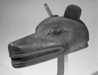 Tsimshian, Gitksan. <em>Wolf Mask used in Wolf Dance (Walas'axa)</em>, 19th century. Wood, copper, pigment, 15 3/4 x 8 1/4 in. (40 x 21 cm). Brooklyn Museum, Gift of Herman Stutzer, Esq., 15.513.2. Creative Commons-BY (Photo: Brooklyn Museum, 15.513.2_acetate_bw.jpg)